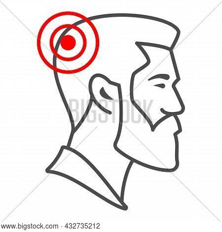 Man Has Headache Thin Line Icon, Body Pain Concept, Person Has Migraine Vector Sign On White Backgro