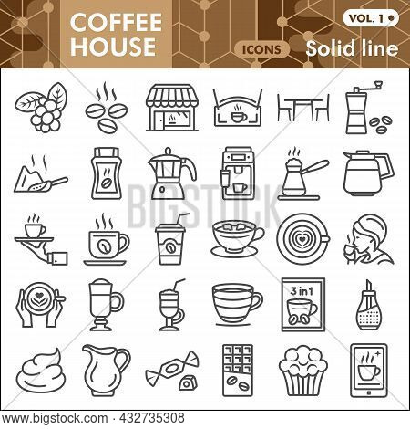 Coffee House Line Icon Set, Catering Business Symbols Collection Or Sketches. Hot Beverage Solid Lin