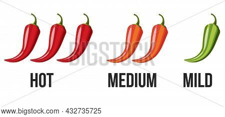 Icons With Chili Pepper Spice Levels. Hot Pepper Sign For Packing Spicy Food. Mild, Medium And Hot P