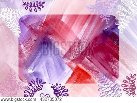 Multikolored Frame Of White And Red Leaves On Watercolor Paint Abstract Colorful Multicolor Backgrou