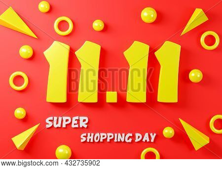 11.11 Single Day Sale Festival Concept. Banner Yellow 11.11 Number On Red Background, Banner Templat