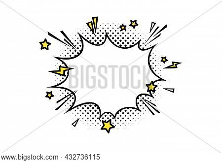 Comic Boom Speech Bubble With Lightnings, Stars And Halftone. Puff Shape For Surprising And Explosiv