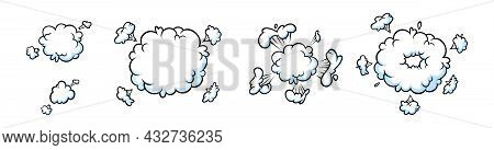 Surprising Boom Clouds For Sales And Promotions. Puff And Pow Smoke Shapes For Surprises And Burstin