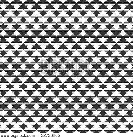 Diagonal Black And White Gingham Seamless Pattern With Striped Squares. Checkered Texture For Picnic