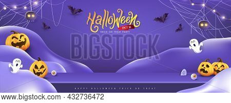 Halloween Background Design With Product Display And Festive Elements Halloween