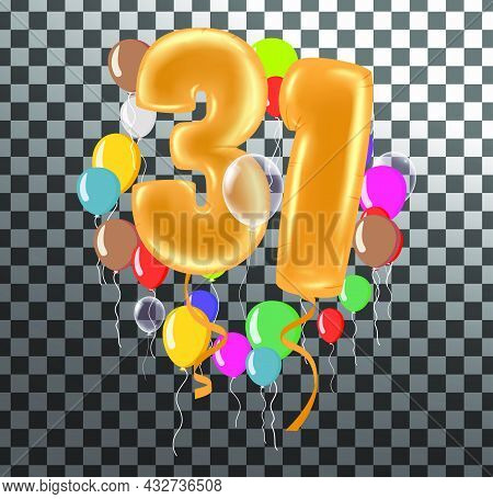 Happy Birthday Thirty One Year, Fun Celebration Anniversary Greeting Card With Number, Balloon On Ba