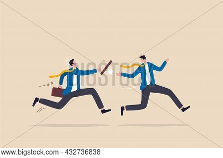 Fail Baton Pass, Failure Or Mistake Causing Business Lost, Bad Work Transition, Struggle Relay, Erro