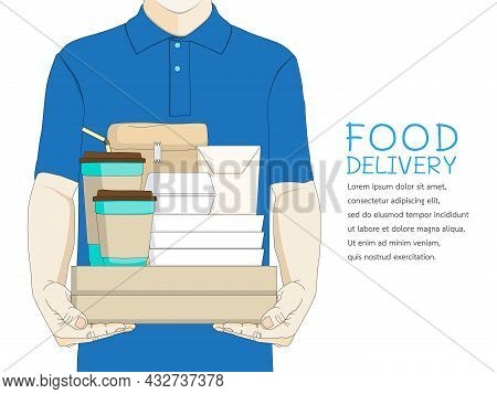 Delivery Boy Courier In Blue Uniform Holding Package Box Food And Beverages Service Deliver Ready Me