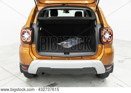 Novosibirsk, Russia - August 19, 2021:  Renault Duster, Clean Car Interior. Black Back Seats In Suv