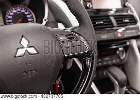 Novosibirsk, Russia - August 31, 2021:  Mitsubishi Eclipse, Black Steering Wheel With Multifunction