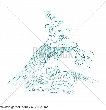 Splashes Of Sea Wave With Foam, Water Swirl And Curls, Raging Ocean.