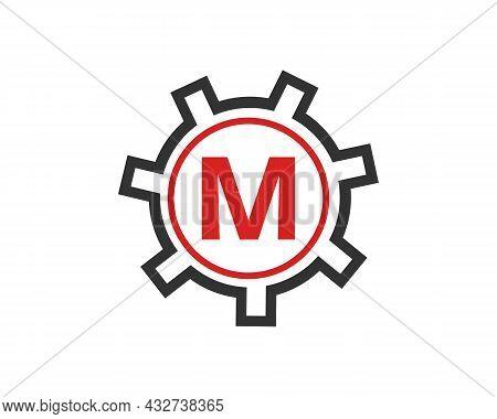 Gear Logo On Letter M. Initial M Gear Letter Logo Design Template. M Gear Engineer Logo