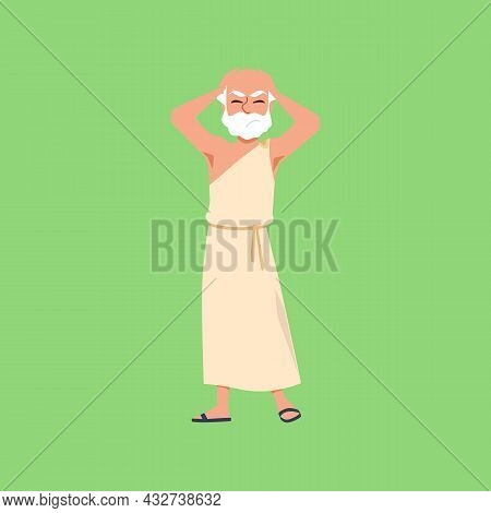Ancient Greek Or Roman Scientist, Philosopher Or Thinker In Toga And Sandals.