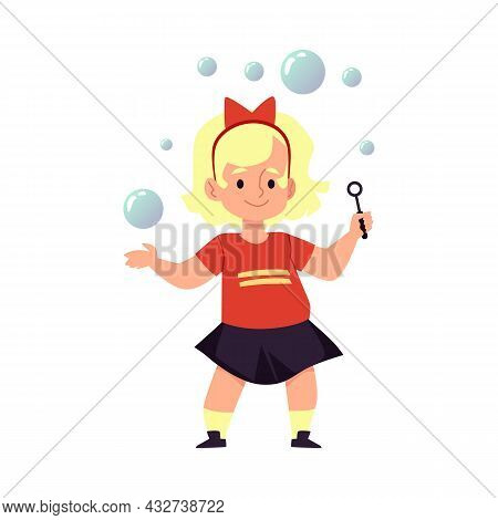 Cute Blond Child Girl Blowing Soap Bubbles, Flat Vector Illustration Isolated.