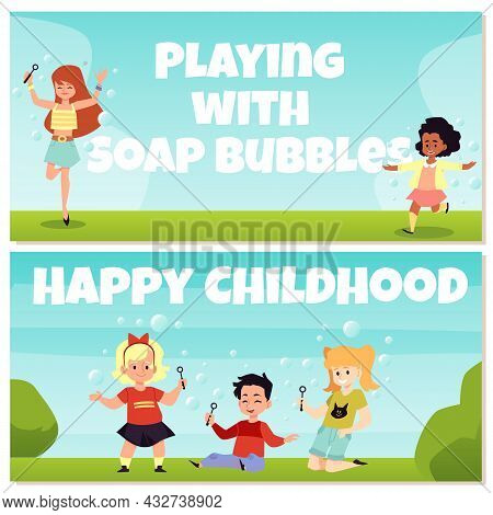 Banners With Happy Kids Blowing And Playing With Flying Soap Bubbles Outdoors.