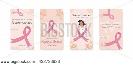 Set Of Vector Stories Template For International Day Against Breast Cancer. Collection Of Banners Fo