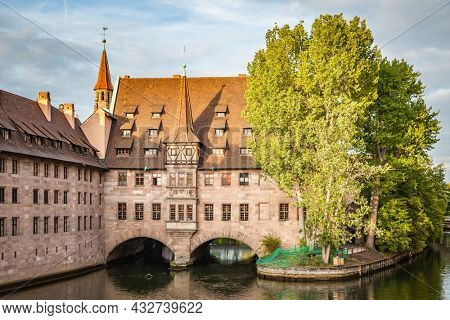 View of Hospice of the Holy Spirit in Nuremberg in the evening, Germany