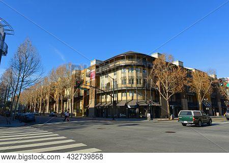 San Jose, Ca, Usa - Mar. 10, 2014: Historic Buildings On E San Fernando Street At S 3rd Street In Hi