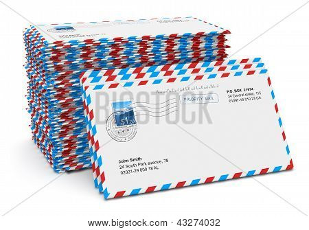 Stack of paper mail letters