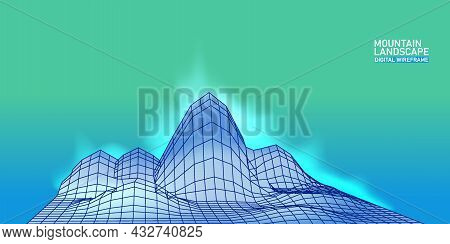 Digital Landscape Mountaine Abstract Wireframe. 3d Wireframe Grid Mesh Illustration Concept. Vector