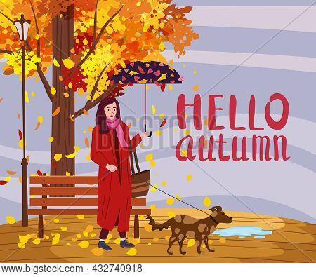 Young Woman With Dog And Umbrella In The Autumn Park City, Trendy Clothes Street Fashionable Style O