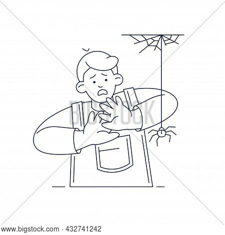 Fear Of Spiders, Childhood Irrational Fear Vector Illustration. Scared Kid Character With Hands On T