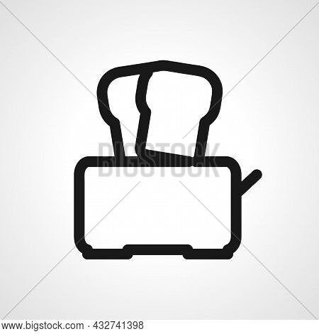 Toaster With Bread Vector Line Icon. Toaster With Bread Linear Outline Icon.