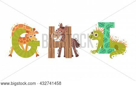 Animal Alphabet Capital Letter With Giraffe And Horse Vector Set