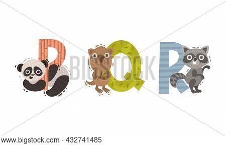 Animal Alphabet Capital Letter With Panda Bear And Raccoon Vector Set
