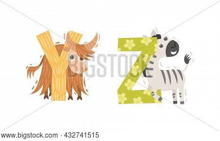 Animal Alphabet Capital Letter With Yak And Zebra Vector Set