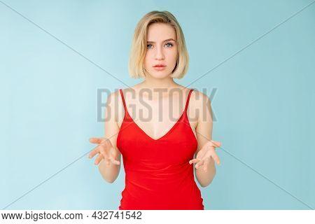 Skeptic Situation. Unsure Woman. Disbelief Hesitancy. Distrust Feelings. Pretty Doubtful Lady Hands