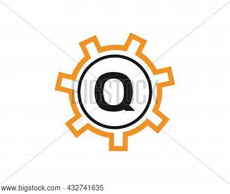 Gear Logo On Letter Q. Initial Q Gear Letter Logo Design Template. Q Gear Engineer Logo