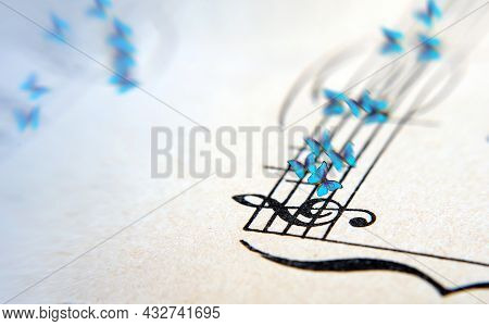 Morpho Blue Butterflies And Notes. Butterfly Melody. Old Music Sheet And Butterflies. Blues Music Co