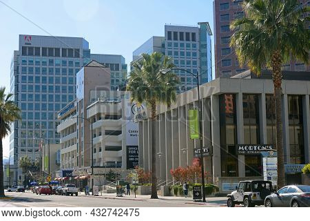 San Jose, Ca, Usa - Mar. 12, 2014: Historic Buildings On Park Avenue At Market Street With Adobe Inc