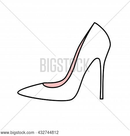 White Wedding Shoe Of The Bride With High Heels. Festive Womens Shoes. Doodle Vector Illustration