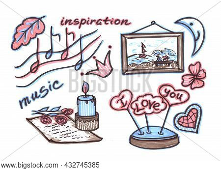 Multicolored Pink Blue Set Of Elements For Wedding Celebration In Line Art Style On White Background