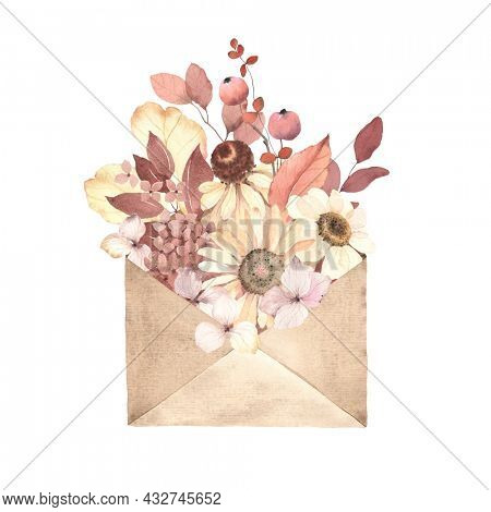 Autumn floral message, herbarium in envelope, watercolor illustration pressed flowers daisy, hydrangea, leaves and berries. Symbol nature, delicate decor in vintage style of burgundy and yellow colors