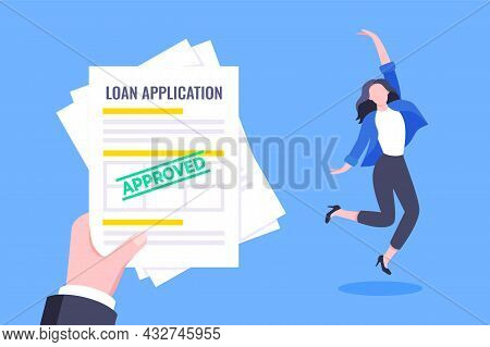 Hand Holds Loan Approval Application Paper Sheets Document. Mortgage Or Credit Form With Stamp Appro