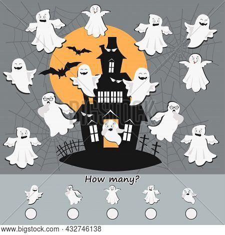 Educational Children Game. How Many Objects Halloween Theme. Printable Worksheet. Vector Illustratio