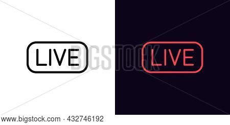 Live Stream, Outline Icon With Editable Stroke. Broadcasting Sign Silhouette. Streaming Tag, Online