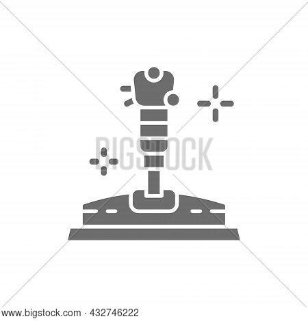 Game Joystick, Gamepad Grey Icon. Isolated On White Background