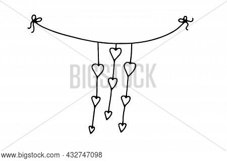 Doodle Valentines Day Thread Garland. Hand-drawn Festoon Isolated On White Background. Outline Festi