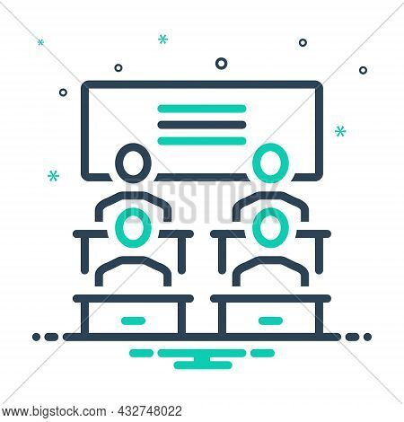 Mix Icon For Classroom Lecture-room Study Education Class Student Teacher Read Book Teach Learn Benc