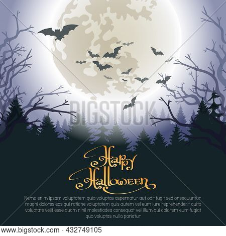 Halloween Woods. Horror Nobody Foresty Background With Moon Night Skies Evil Bats And Scary Trees, D