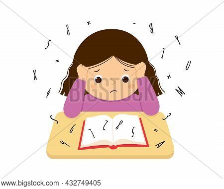Child Suffering With Dyslexia And Dyscalculia Is Having Difficulty In Reading A Book. Stressed Girl