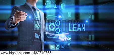 Lean Manufacturing And Software Development Methodology Concept On Screen