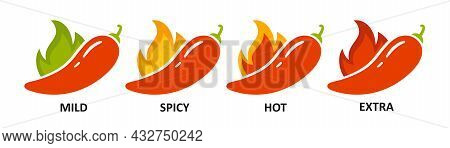 Level Marks - Mild, Hot And Extra. Green And Red Chili Pepper. Symbol Of Pepper With Fire. Chili Lev