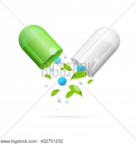 Realistic Detailed 3d Pill With Green Leaf Alternative And Homeopathy Medicine Concept. Vector Illus