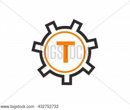 Gear Logo On Letter T. Initial T Gear Letter Logo Design Template. T Gear Engineer Logo