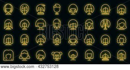 Wig Icon. Outline Wig Vector Icon Neon Color On Black